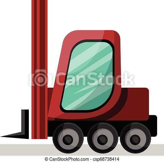 red cartoon lift truck vector illustration on white background. - csp68738414