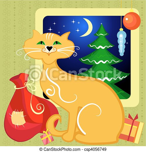 Red Cat with Christmas gifts - csp4056749