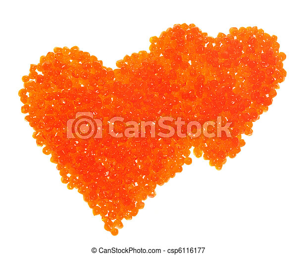 Red caviar in the form of heart - csp6116177