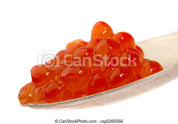 Red caviar on the spoon, on a white background - csp5265056