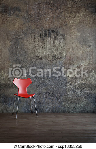 Red chair in old environment - csp18355258