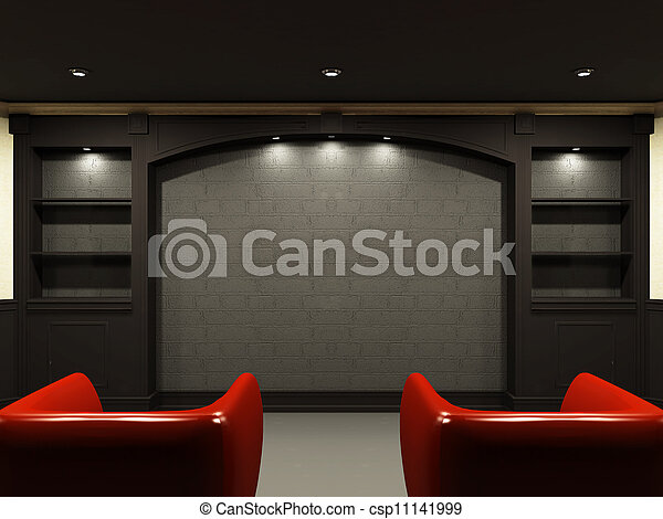 Red chairs in living room with emty place on the wall - csp11141999