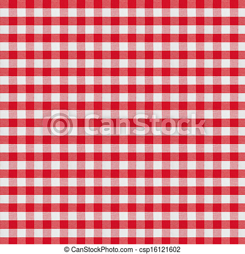 red checkered fabric tablecloth - csp16121602