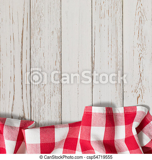 Red Checkered Picnic Tablecloth On White Wood Table   Csp54719555