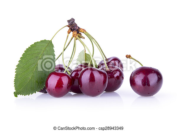 red cherries with leaves on a white background - csp28943349