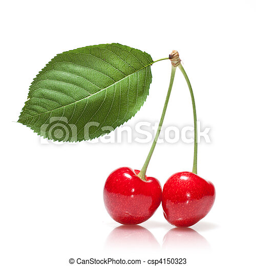 red cherry with leaf isolated on white - csp4150323