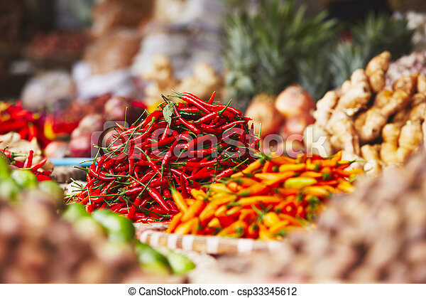 Red chili on the street market - csp33345612