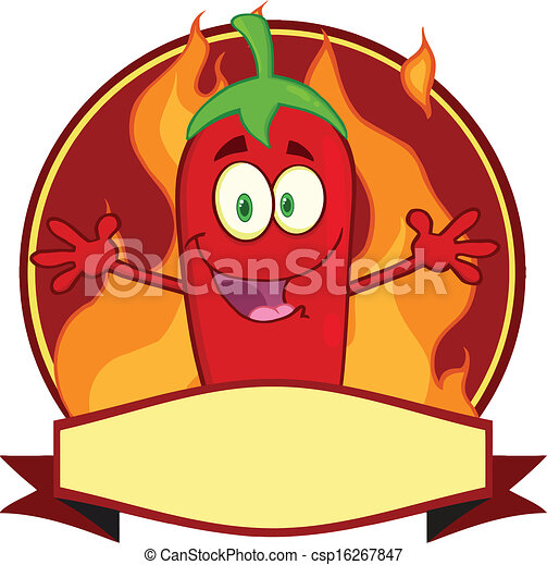 Red Chili Pepper Cartoon Label - csp16267847