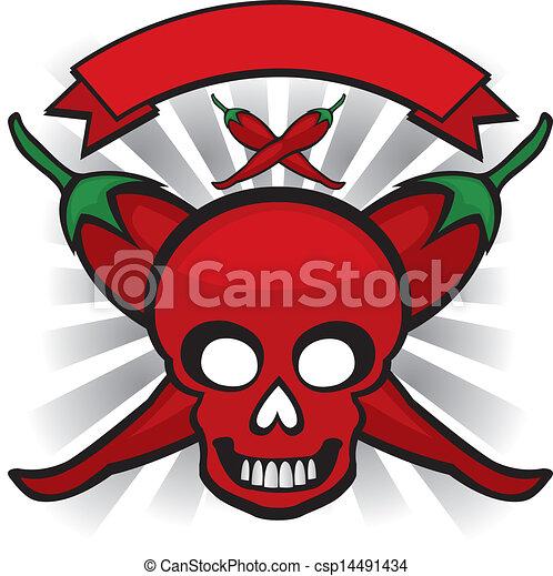 red chili pepper skull - csp14491434