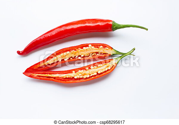 Red chili peppers on a white - csp68295617