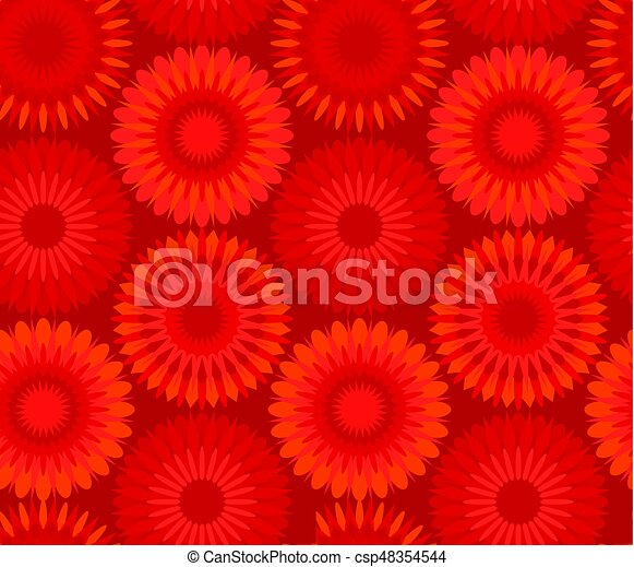 Red China Flower Abstract Seamless Pattern Vector Illustration Red