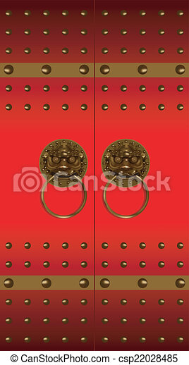 Red chinese door - csp22028485 & Red chinese door. Traditional chinese doors and door knockers art ...
