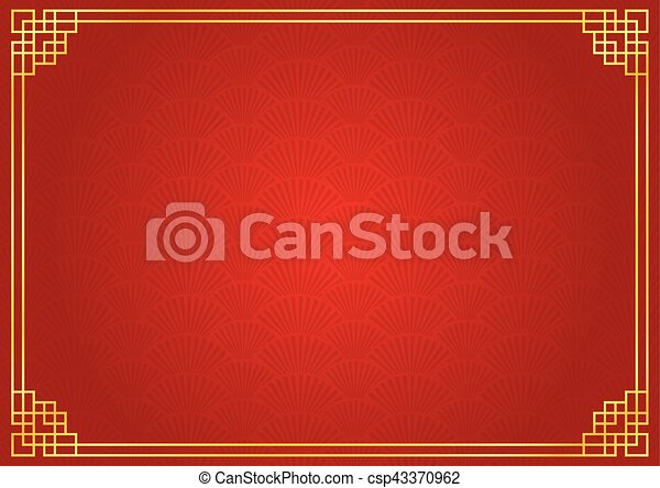 red chinese fan background with golden border csp43370962
