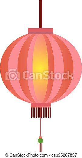 Red chinese lantern flat illustration isolated on white ...