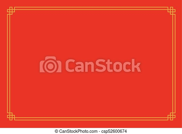 red chinese new year empty background with golden border csp52600674