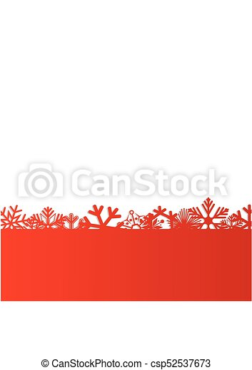Red Christmas and New Year background with snowflakes for text. Vector Illustration - csp52537673