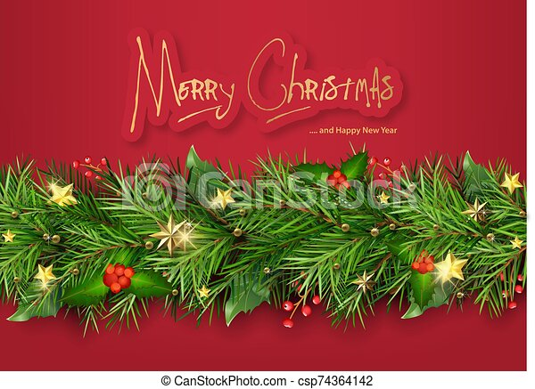 Red Christmas Background with Christmas Tree Branches - csp74364142