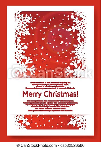 Red Christmas background with snowflakes - csp32526586