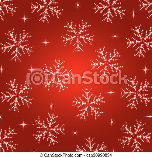 Red christmas background with snowflakes - csp30990834