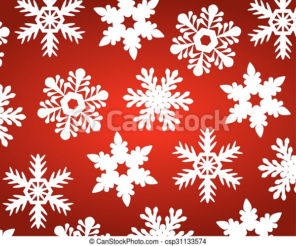 Red christmas background with snowflakes - csp31133574