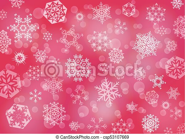 Red Christmas background with white snowflakes - csp53107669