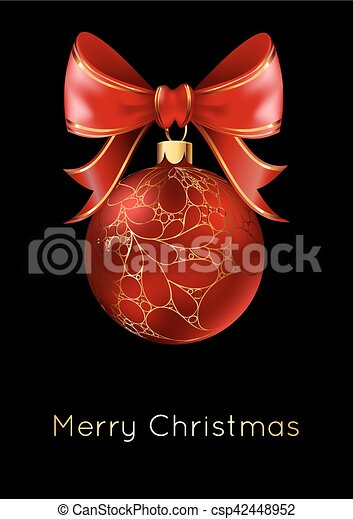 Red Christmas ball with a bow, isolated on black background. - csp42448952