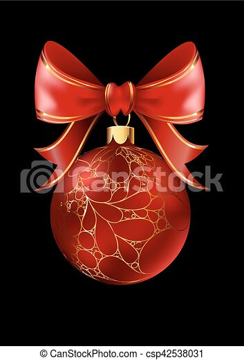Red Christmas ball with a bow, isolated on black background. - csp42538031