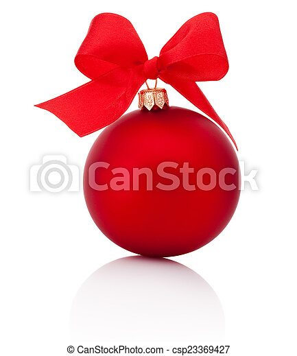 Red Christmas ball with ribbon bow Isolated on white background - csp23369427