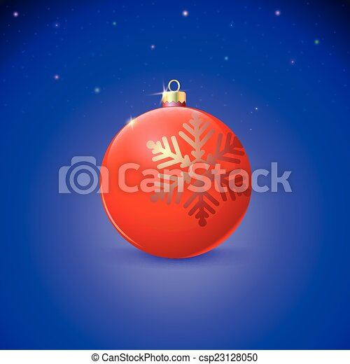 Red Christmas ball with snowflake over starry background. - csp23128050