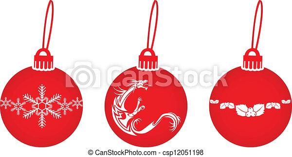 red christmas balls - csp12051198