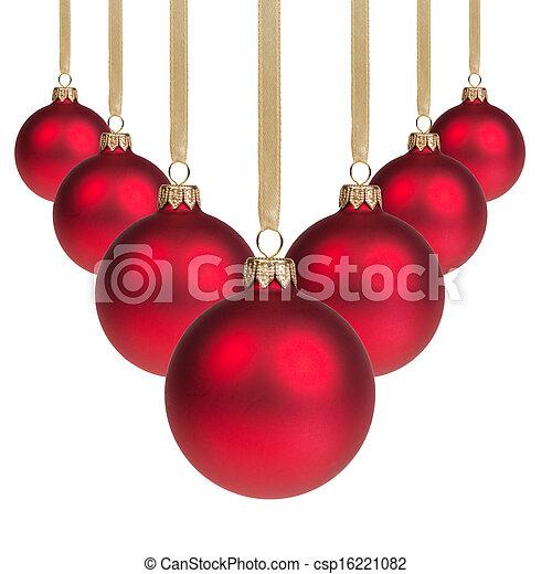red christmas balls hanging on ribbon v shape csp16221082