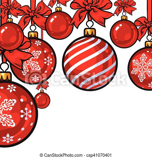 Red Christmas balls with ribbon and bows - csp41070401