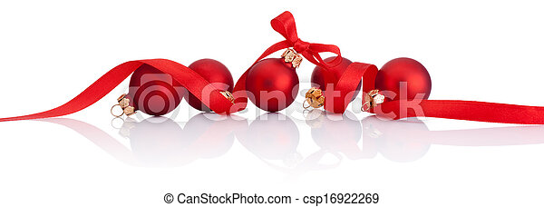Red Christmas balls with ribbon bow Isolated on white background - csp16922269