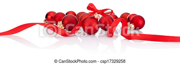 Red Christmas balls with ribbon bow Isolated on white background - csp17329258