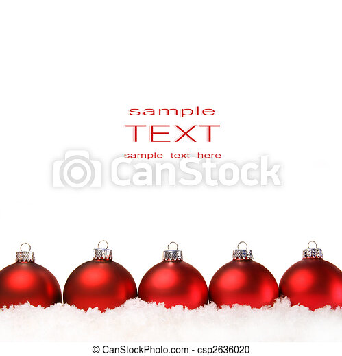 Red christmas balls with snow isolated on white - csp2636020