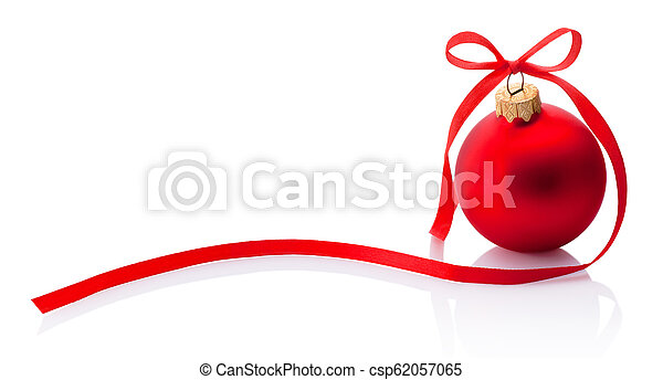 Red Christmas bauble with ribbon bow isolated on white background - csp62057065