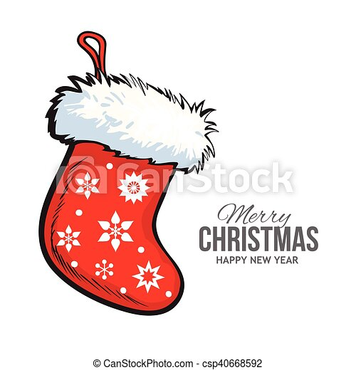 Drawings Of Christmas Stockings.Red Christmas Boot Greeting Card Template