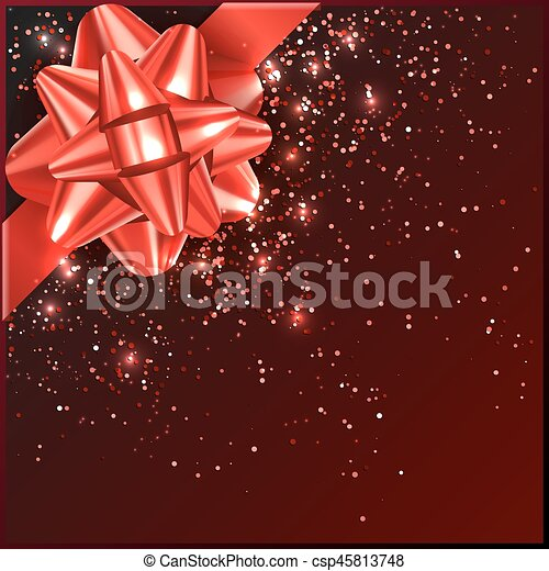 Red Christmas Bow with confetti on gift box - csp45813748