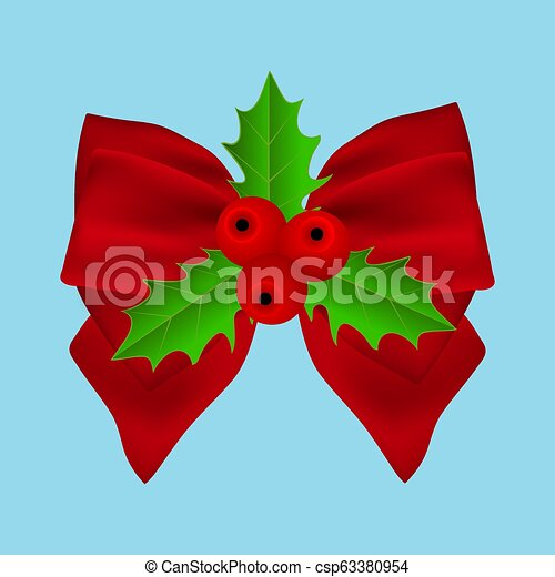 Red Christmas bow with holly on ribbon - csp63380954