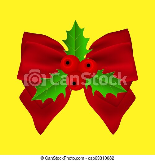 Red Christmas bow with holly on ribbon - csp63310082