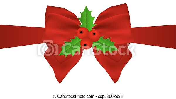 Red Christmas bow with holly on white background on ribbon. - csp52002993