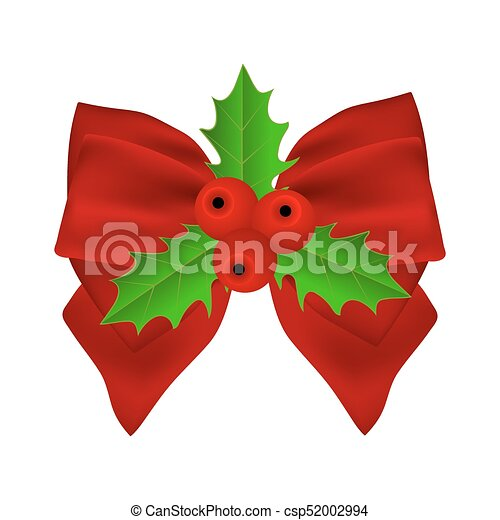 Red Christmas bow with holly on white background on ribbon. - csp52002994