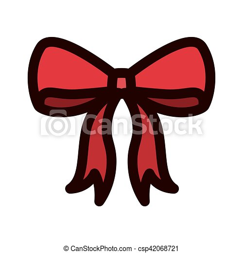 red christmas bow with outline thickness csp42068721