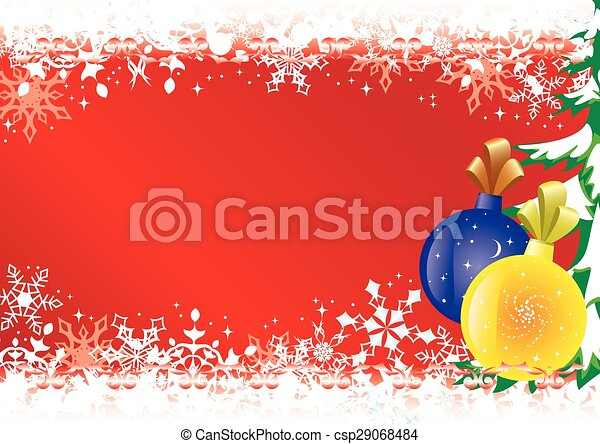 red christmas card with snowflakes - csp29068484
