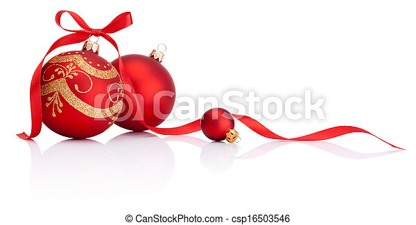 Red christmas decoration balls with ribbon bow isolated on white background - csp16503546