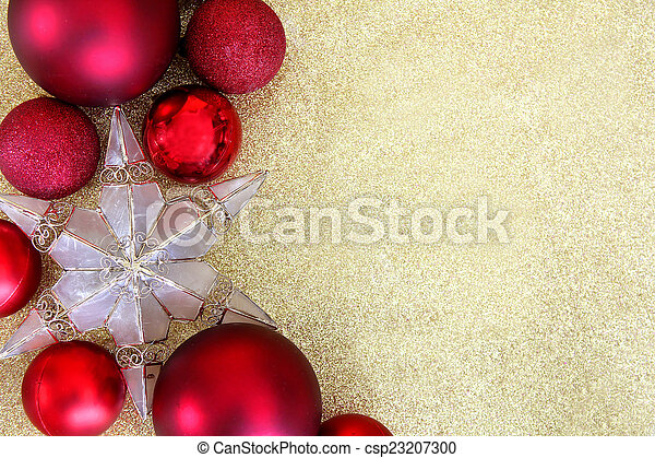 red christmas decorations and star border gold background csp23207300