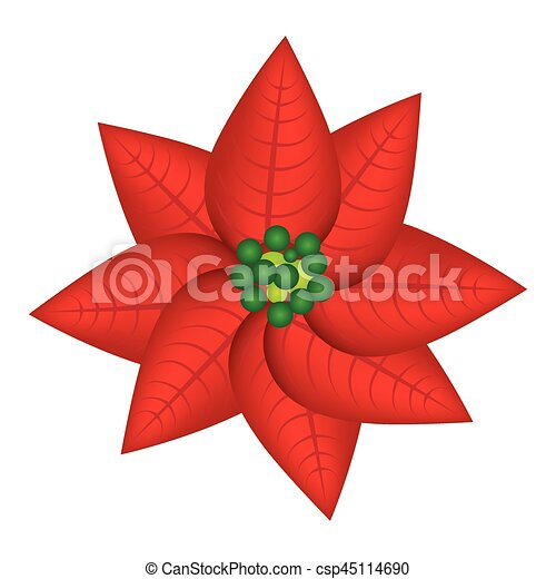 Red Christmas Flowers Decorative Icon Vector Illustraction Design Canstock