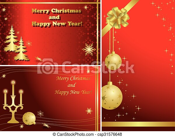 Set Of Red Christmas Frames With Gold Decorations