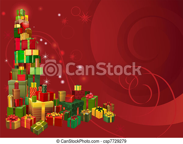 red christmas gift background csp7729279
