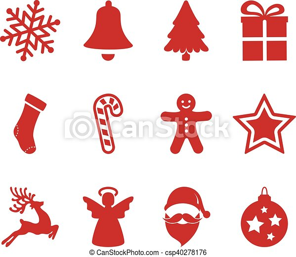 red christmas icons set - csp40278176